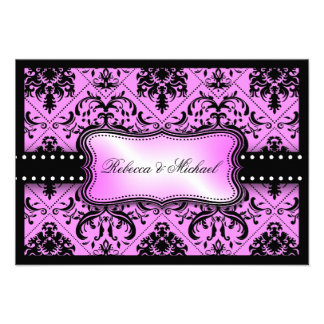 Tarjetas púrpuras y negras hermosas de RSVP del da Comunicado