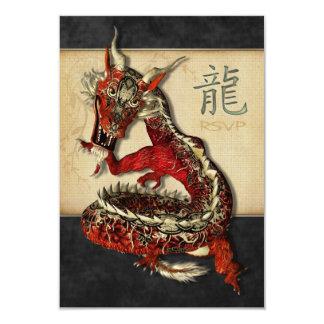 Tarjetas rojas chinas de RSVP del dragón Invitación 8,9 X 12,7 Cm