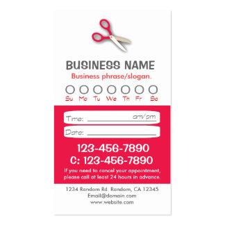 Tarjetas rojas de encargo de la cita del pelo tarjeta de visita