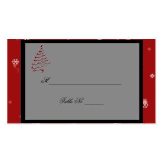 Tarjetas rojas del lugar del boda de los copos de tarjetas de visita