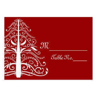 Tarjetas rojas del lugar del boda del invierno del tarjetas de visita grandes
