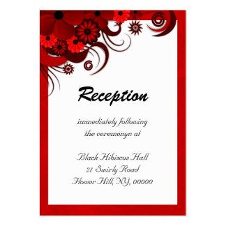 Tarjetas rojas del recinto de la recepción nupcial tarjetas de visita grandes
