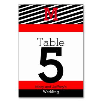 Tarjetas rojas y rayadas simples de la tabla