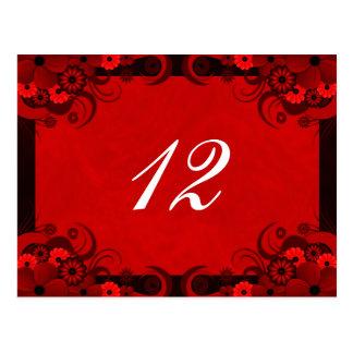 Tarjetas rojo oscuro florales del número de la