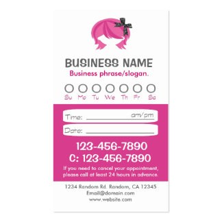Tarjetas rosadas de encargo de la cita del pelo tarjetas de visita
