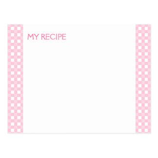 Tarjetas rosadas de la receta de la guinga