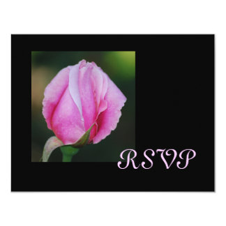 Tarjetas rosadas de RSVP del capullo de rosa Invitación 10,8 X 13,9 Cm