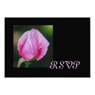 Tarjetas rosadas de RSVP del capullo de rosa Invitación 8,9 X 12,7 Cm