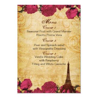 Tarjetas rosadas del menú del boda de París de la Invitación 12,7 X 17,8 Cm