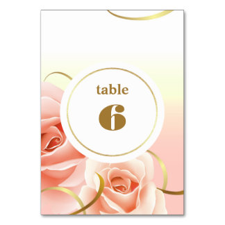 Tarjetas rosadas elegantes del número de la tabla