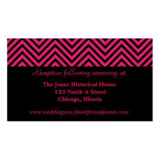 Tarjetas rosadas y negras del recinto del boda de  tarjetas de visita