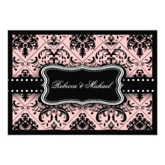 Tarjetas rosadas y negras hermosas de RSVP del dam Anuncio Personalizado