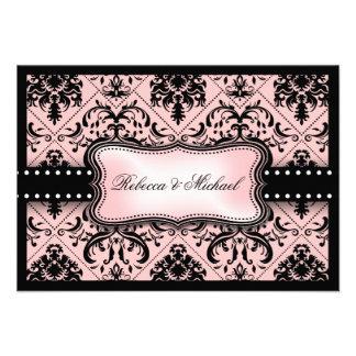 Tarjetas rosadas y negras hermosas de RSVP del dam Comunicado Personalizado
