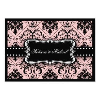 Tarjetas rosadas y negras hermosas de RSVP del Anuncio Personalizado