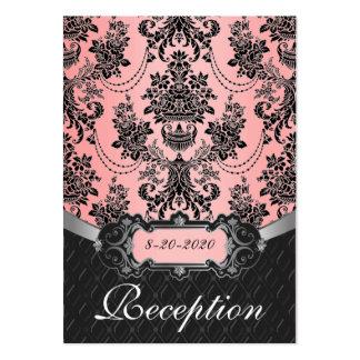 Tarjetas rosas claras y negras de la recepción tarjetas de visita grandes