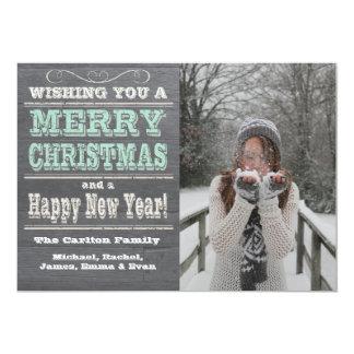 Tarjetas rústicas de la foto del navidad invitación 12,7 x 17,8 cm
