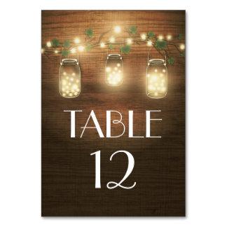Tarjetas rústicas del número de la tabla del boda
