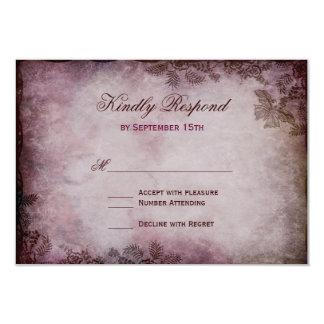 Tarjetas rústicas púrpuras de RSVP de la mariposa Invitación 8,9 X 12,7 Cm