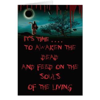Tarjetas sangrientas de Halloween del parca