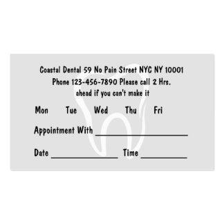 Tarjetas simples de la cita del dentista tarjetas de visita