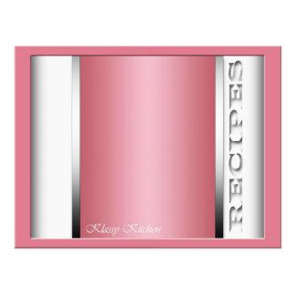 Tarjetas sofisticadas rosadas de la receta