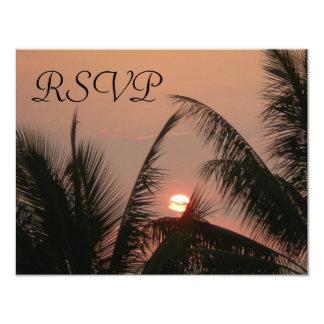 Tarjetas tropicales de RSVP de la puesta del sol Invitación 10,8 X 13,9 Cm