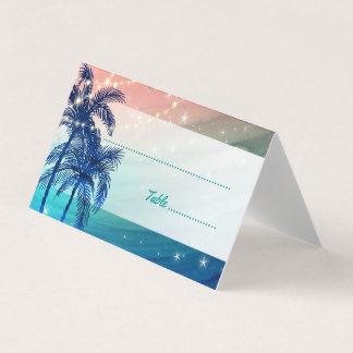 Tarjeta De Asiento Tarjetas tropicales del lugar del boda de playa