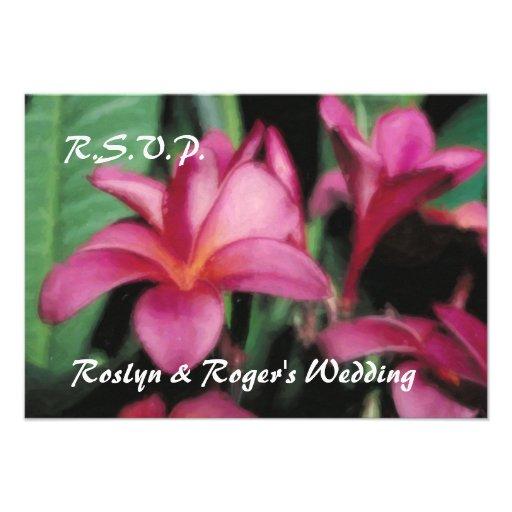 Tarjetas tropicales hawaianas de RSVP del Plumeria Comunicado Personal