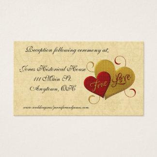 Tarjetas verdaderas del recinto del boda del amor