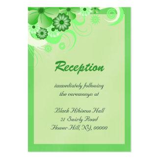 Tarjetas verdes claras del recinto de la recepción tarjetas de visita grandes