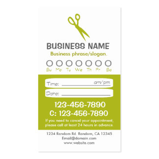 Tarjetas verdes de encargo de la cita del pelo tarjeta de visita