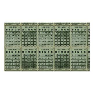 tarjetas verdes del bingo del vintage tarjetas de visita
