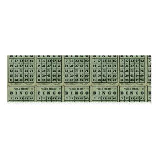tarjetas verdes del bingo del vintage tarjetas de visita mini
