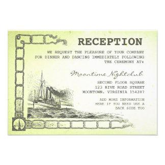 tarjetas verdes náuticas de la recepción del barco invitaciones personales
