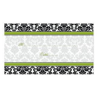 Tarjetas verdes, negras, blancas del lugar del bod tarjetas de visita