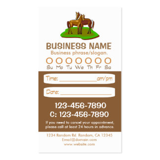Tarjetas veterinarias de la cita del caballo de tarjeta de visita