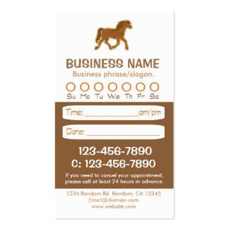 Tarjetas veterinarias de la cita del caballo de tarjetas de negocios