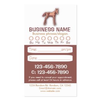 Tarjetas veterinarias de la cita del caballo del tarjetas de visita