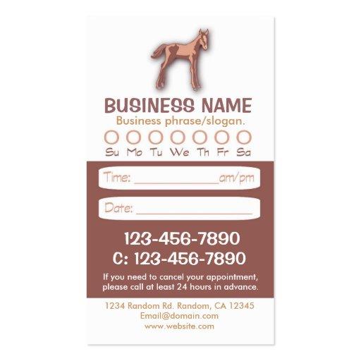 Tarjetas veterinarias de la cita del caballo del tarjeta de visita