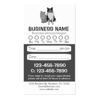 Tarjetas veterinarias de la cita del gato del tarjetas de visita