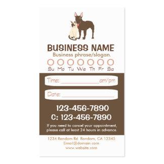 Tarjetas veterinarias de la cita del gato del plantillas de tarjetas de visita