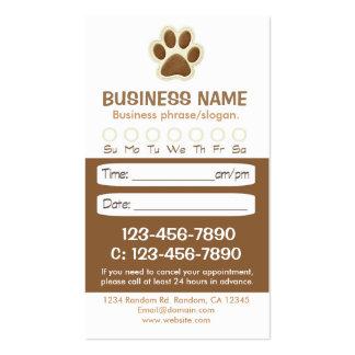 Tarjetas veterinarias de la cita del marrón de la tarjetas de visita