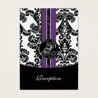 tarjetas violetas de la recepción nupcial del
