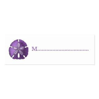 Tarjetas violetas del asiento de la tabla de la tarjetas de visita mini