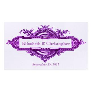Tarjetas violetas del favor de la recepción tarjetas de visita