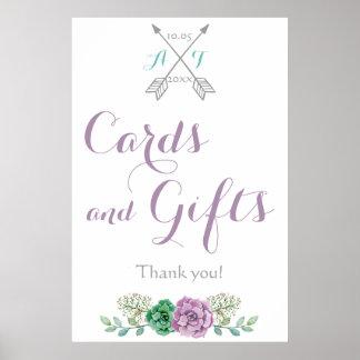 Tarjetas y regalos que casan la flor bothanical de póster