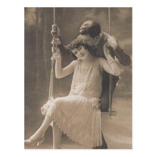 Tarjetas y regalos románticos - aleta de los pares tarjeta postal