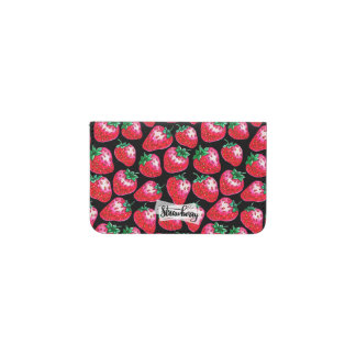 Tarjetero Fresa roja en fondo negro
