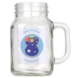 Tarro Ángel australiano en el cuadrado Squiggly blanco y