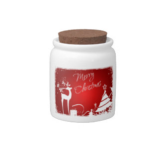 Tarro blanco rojo del caramelo de los copos de nie jarras para caramelos